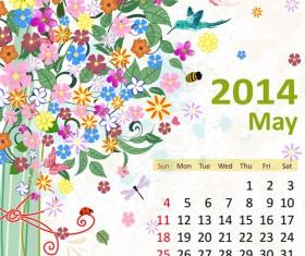 2014 Floral Calendar May vector