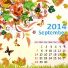 2014 Floral Calendar September vector