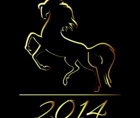 Horses 2014 design elements vector 01