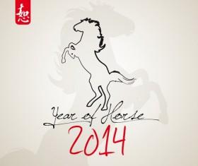 Horses 2014 design elements vector 03
