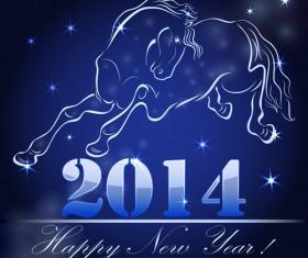 Horses 2014 design elements vector 04