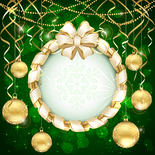 luxurious christmas new year baubles vector background 05
