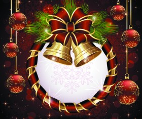 luxurious Christmas New Year baubles vector background 06