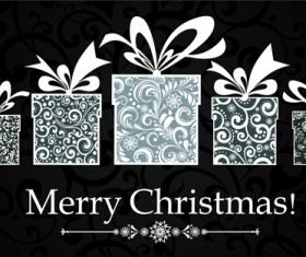 Black Style 2014 Christmas Backgrounds vector 02