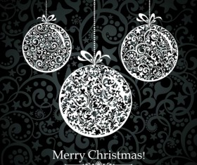 Black Style 2014 Christmas Backgrounds vector 05