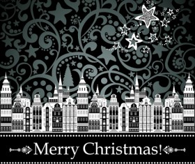 Black Style 2014 Christmas Backgrounds vector 08