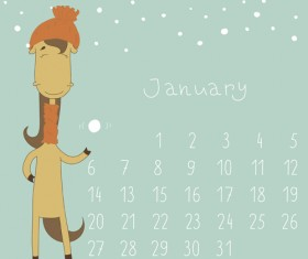 Cute Cartoon January Calendar design vector