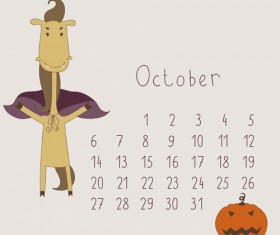 Cute Cartoon October Calendar design vector