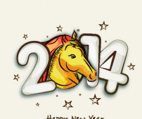 Creative 2014 New Year design vector graphic 02