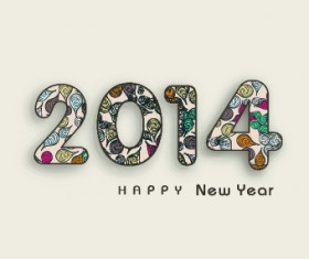 Creative 2014 New Year design vector graphic 04