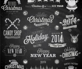 2014 Christmas Dark labels with ornaments vector set 01