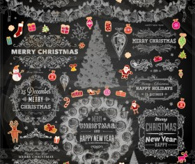 2014 Christmas Dark labels with ornaments vector set 02