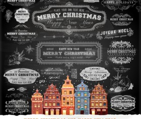 2014 Christmas Dark labels with ornaments vector set 03