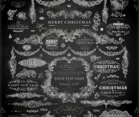 2014 Christmas Dark labels with ornaments vector set 04