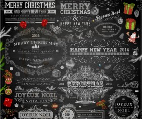 2014 Christmas Dark labels with ornaments vector set 05