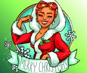 2014 Christmas Maiden design vector 01