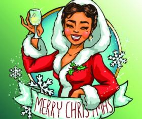 2014 Christmas Maiden design vector 02