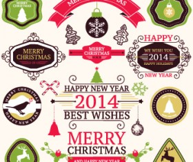 2014 Christmas lables ribbon and baubles ornaments vector 01
