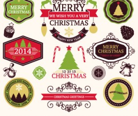2014 Christmas lables ribbon and baubles ornaments vector 02