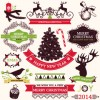 2014 Christmas lables ribbon and baubles ornaments vector 03