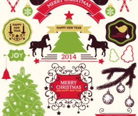 2014 Christmas lables ribbon and baubles ornaments vector 04
