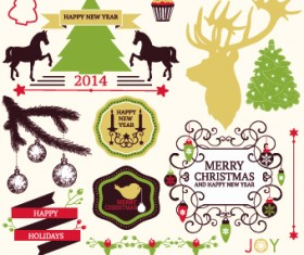 2014 Christmas lables ribbon and baubles ornaments vector 05