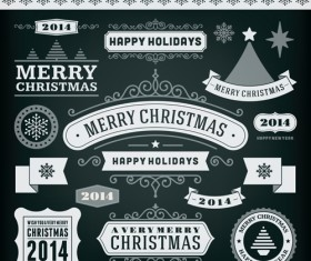 2014 Christmas labels and borders with ribbon vector 01
