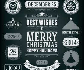 2014 Christmas labels and borders with ribbon vector 02