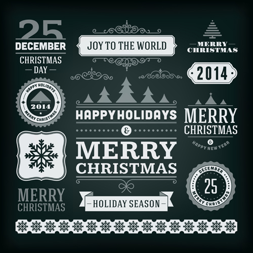 2014 Christmas labels and borders with ribbon vector 03