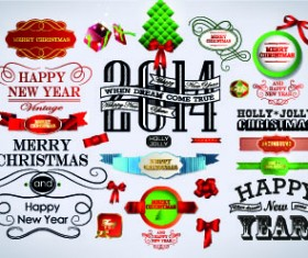 2014 Christmas labels and decoration creative vector 01