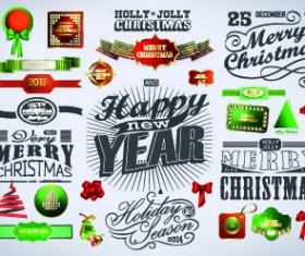 2014 Christmas labels and decoration creative vector 02