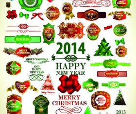 2014 Christmas labels and decoration creative vector 03