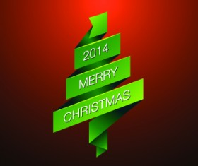 2014 Merry Christmas green ribbon background vector
