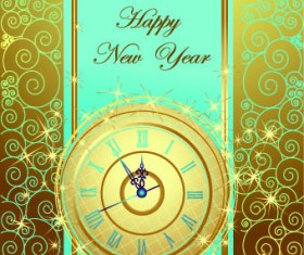 2014 New Year clock glowing background vector 02