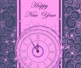 2014 New Year clock glowing background vector 05