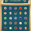 25 Kind Vintage Flags icons vector