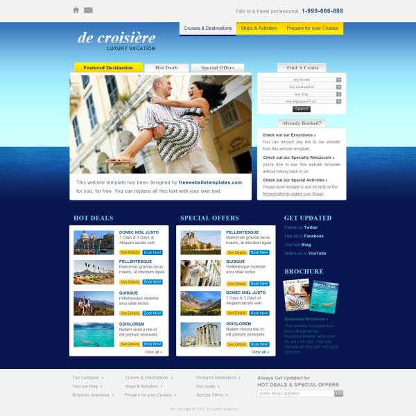 Vacation website psd template