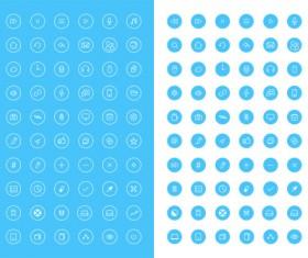 Set of web mini blue icons psd