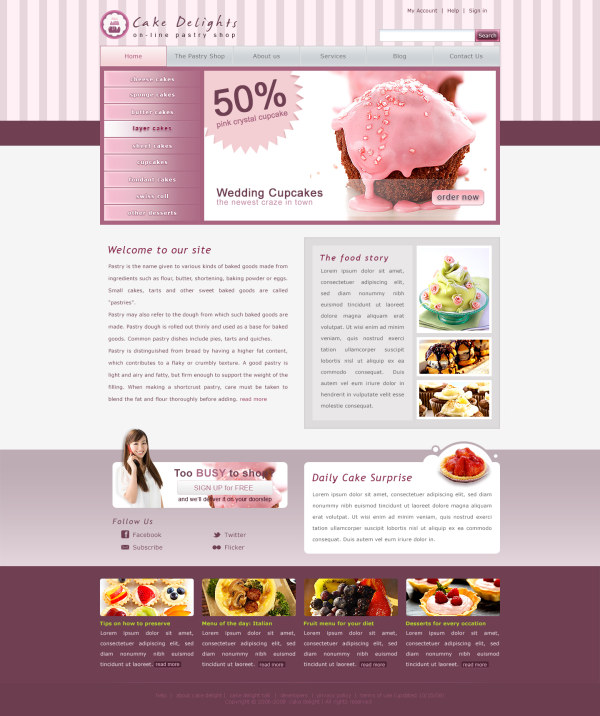 cake website template psd - Web Elements PSD File free download