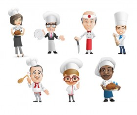 Funny cartoon chef psd material