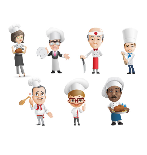 Funny cartoon chef psd material