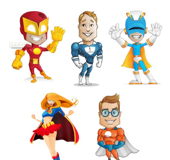 Cartoon superhero psd graphics