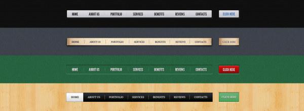 Website navigation PSD layered material