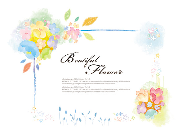 Beatiful flower background psd graphics 01