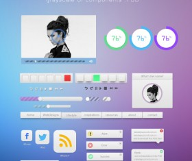 Blue and purple style web UI kit 01