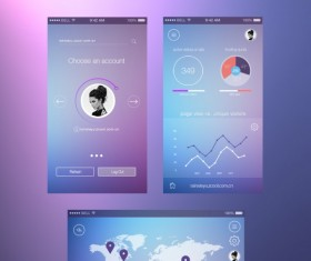 Blue and purple style web UI kit 02