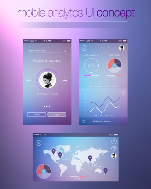 Blue and purple style web UI kit 02