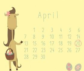 Cute Cartoon April Calendar design vector