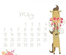 Cute Cartoon May Calendar design vector