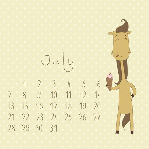 Cute Calendar July 2014 cute cartoon july calendar design vector ...